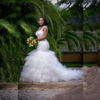 Wholesale Silk Satin Wedding Skirt - Luxury Handwork Beading Pearls Mermaid African Wedding Dress Cap Sleeve V Neck Ruffled Tiered Tulle Bride Bridal Gown vestido de noiva