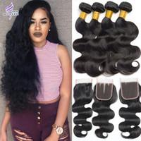 Wholesale Modern Hair Show - Peruvian Virgin Hair with Closure Modern Show Hair with Closure Peruvian Body Wave Human hair Weave 4 Bundles with Closure