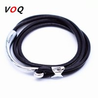 Wholesale Metal Wrap Snake - Wholesale- Half Bend Metal Hook Bracelet Men 2-Loop Wrapped Leather Bracelets for Women 2017 Fashion Romantic Jewelery