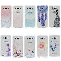 Wholesale Tower Mobile Cover - Transparent TPU Cover For Samsung Galaxy J710 J7 2016 Case Fashion Tower bike Butterfly Girl Feather Design Mobile Phone Cases
