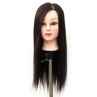 ingrosso trucco pratica testa-Black Salon Hairdressing Hair Training Mannequin Head Modello Makeup Practice Heads + Clamp