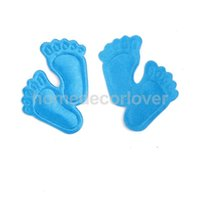 Wholesale-200pcs Голубой Footprint Мальчик Baby Shower Благоприятная Satin Applique Craft украшение
