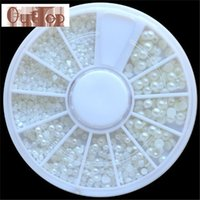 Wholesale Pearl Nail Stickers - GRACEFUL White Pearl Nail Art Stone Different Size Wheel Rhinestones Beads Nail Sticker Nail decoration SEPT22