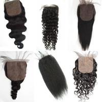 Wholesale hidden knots closure for sale - Group buy Mongolian Virgin Hair Straight Silk Base Closure Hidden Knots Brazilian Peruvian Human Hair Free Part Cheap Silk Closure FDSHINE HAIR