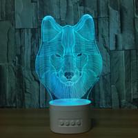 ingrosso lampade di lupo-Illusione lupo 3D lampada Bluetooth Speaker LED 3D con 5 luci RGB TF card slot DC 5V di ricarica USB Dropshipping