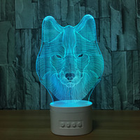 Barato Animal Lobo Por Atacado-Wolf 3D Illusion Lamp 3D LED Light Speaker Bluetooth com 5 RGB Lights TF Slot para cartão DC 5V USB Charging Wholesale Dropshipping