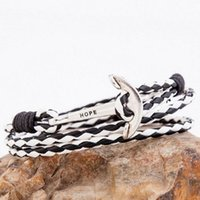 Wholesale Sailor Bracelets Wholesale - Wholesale- Hope is on The Head of Anchor Vintage Leather Bracelet PU Sailors Style Fishing Bracelet Men Jewelry pulseras mujer SL065