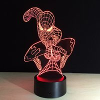 Wholesale Luces Led Navidad - Spider man Changeable color Cartoon Hero Luces Navidad Iron Man Led Night Lights 3D LED Desk Lamp Bedside Lamps