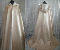 Wholesale White Winter Hooded Wedding - Vintage Design Superior Quality Champagne Satin Hooded Long Length Cloak for Wedding Bride Winter Cape