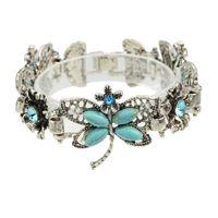 Wholesale Rhinestone Butterfly Charms - Bohemian Boho Chic Style Blue Rhinestone Butterfly Antique Silver Color Bracelet For Women