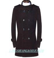 коричневый шерстяной плащ мужской оптовых-Черный коричневый подросток двубортный шерстяное пальто мужчины 2017 тренч куртки мужские шерстяные пальто пальто зимнее платье плюс размер S-9XL