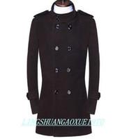 gabardina de lana marrón para hombre al por mayor-Negro marrón adolescente de doble botonadura abrigo de lana de los hombres 2017 chaquetas de trinchera abrigos de lana para hombre abrigos vestido de invierno más el tamaño S - 9XL