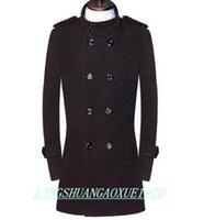 ingrosso mens marrone di trincea di lana marrone-Nero marrone adolescente doppio petto cappotto di lana uomo 2017 trench giacche mens cappotti di lana vestito invernale plus taglia S - 9XL
