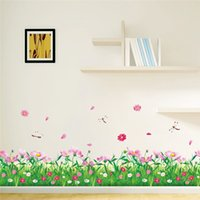 Wholesale grass decals - DIY Nature Colorful Flowers Grass Wall Sticker Home Decor dragonfly 3d Wall Decals floral TV Bedroom Garden Home decoration