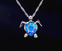 Wholesale fire stone necklace - Wholesale & Retail Fashion Jewelry Fine Blue Fire Opal Sea Turtle Stone Sliver Pendants For Women PJ17082712