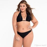 Wholesale Bikini Free Shipping Xxl - Women Plus Size Bikini 2017 Summer Vintage Sexy Lady Large Size Two-Piece Swimsuits Black Free Shipping