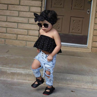 Girl black hole vests - 2017 Summer New Girl Sets Dots Black Vest Hole Jeans Headband Fashion Outfits Children Clothing Y