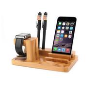 bambus-ladegerät großhandel-NEUE 3-in-1 Bambus-Tischplatten-Standplatz-Aufladeeinheits-Dock-Station, natürlicher Bambusholz-Aufladeeinheits-Standplatz-Halter für Apple-Uhr / Handy / Tablette-PC