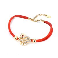Wholesale Lucky Chicken - Red rope Bangles Fashion Women men 18K Gold Plated cock chicken Charm Bracelets Luxury Lucky Bracelets crystal Jewelry Wholesale GLBLS01