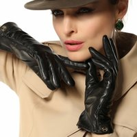 Wholesale Short Leather Gloves For Women - Wholesale- 2017 Rushed Women Gloves Wrist Short Slim Genuine Leather Glove Female Fashion Goatskin For Winter Driving Plus Thermal EL035NN