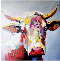 Wholesale Life Size Cows - Framed Color Cow,Pure Hand Painted Abstract Modern Wall Decor Cartoon Animal Art Oil Painting High Quality Canvas.Multi sizes C060