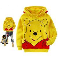 ayı hoodie çocuğu toptan satış-Çocuklar Zımpara kumaş Ayı Kazak Yürüyor Boy hoodie Sonbahar bahar Çocuk Gömlek Uzun Kollu Elbise erkek bebek kız Giyim