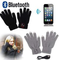 Wholesale Talking Novelty - 2 Colors Smart Bluetooth Glove Wireless Touch Screen Talking Magic Gloves Bluetooth Stereo Headphone With Mic 2pcs pair CCA7471 30pair
