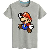 Wholesale Cool Fan Design - Super Mario T shirt Hot short sleeve Cool design tees Game fans clothing Men cotton Tshirt