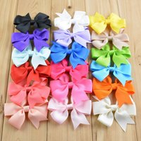 Wholesale Solid Hairbows - 20 Colors Fashion Hair Bows Hair Boutique Pin for Kids Girls Children Accessories Baby Hairbows Hairpin Clips Flower Clip Hot NO have clip