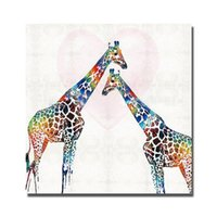 Wholesale Painting Tall Ship - Free shipping abstract canvas art beautiful cartoon animal tall giraffe oil paintng designer modern home decor