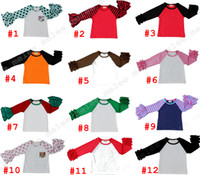 Wholesale Baby Girl Fall Clothes - INS XMas baby girls kids icing ruffle raglan tops shirts girls Striped Dot clothes o-neck girls casual tops fall Spring Autumn top T-shirt