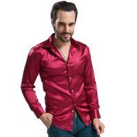 Wholesale Shiny Silk Shirts Men - Wholesale- Men Shirt 2017 New leisure Men's Clothing High-grade Emulation Silk Long Sleeve Shirts Shirt Shiny Silks And Satins Camisa