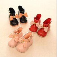Wholesale Cow Girl Fashion - Fashion Kids Girls Rain Boots Baby Girl Princess Bow Casual Shoes 2017 Babies Autumn mini sed Anti-slip Boots