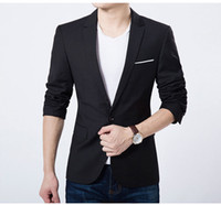 Wholesale Wholesale Fitted Suits - Men's Fashion Casual Blazer Suit Jacket Slim Fit Groom Wedding Suits for Men Business Blue and Black Coats The Slits Plus Size S-4XL