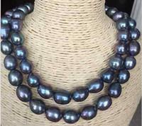 collares de perlas del mar del sur barroco al por mayor-Perlas finas Joyas dobles hilos 14-15mm mar del sur pavo real verde barroco collar de perlas 18