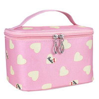 Wholesale Heart Box Patterns - Naivety 2017 Makeup Cosmetic Bag Love Heart Pattern Case Grain Of Pure Color Square Storage Box Make Up Organiser Container