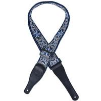 guitarra baixa de nylon venda por atacado-Jacquard Nylon Bass Guitar Strap Dupla Camada 2.5MM Com Acabamentos De Couro- Azul
