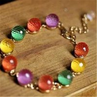 Wholesale Vintage Crystal Candy - 2016 New Vintage Jewelry Colorful Candy Colored Beads Crystal Beads Gold Bracelet Retro Sweet Ladies Hand Rings for Women Fashion Jewelry