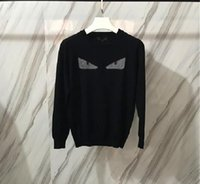 Wholesale Cashmere Brand Clothing - 2017 Winter fashion Men clothing sweater Mens Male Brand sweater Black knit Sweatshirts Little monsters printing Streetwear Men clothing