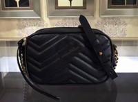 mini sacs de lin achat en gros de-Sac à main en cuir pour femme Marmont G Fermeture à rabat, Détail en métal doré antique, Doublure en lin coton, 448065