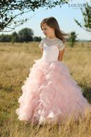 Wholesale Beautiful Rose Child Flowers - 2017 Flower Girl Dresses princess pink rose Multilayer fold Rhinestone Neck Child Dresses Beautiful Flower Girl Wedding Dresses