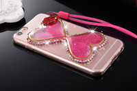 Wholesale Case Sexy - For iphone 5 5s se 6 6s 7 plus Diamond Funnel Glitter Liquid sexy lips lanyard Soft Acrylic case cover