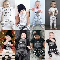 Wholesale Short Overalls For Baby Girls - Wholesale- 2016 2pcs Newborn Toddler Infant Baby Boy Girl Clothes T shirt Tops Pants Outfits Set Overalls Creepers Clothing for Children