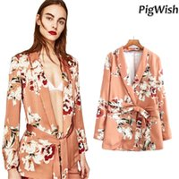 Wholesale Women Suits Peplum - 2017 Flower Print Blazer Feminino Sashes Women Slim Fit Long OL Vintag Trouser Suit Jacket Floral Coat Outerwear Pant