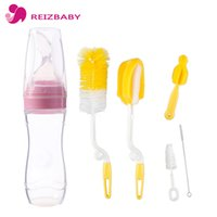 Wholesale Nipple Squeezing - Brand 120ml Baby Squeezing Feeding Bottle Spoon Silicone Food Feeder Spoon 5Pcs Bottle Brushes Cleaning Set Nipple Brush Cleaner