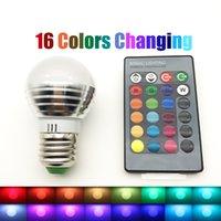 Wholesale Spot Luz - E27 RGB Led Lamp Bulb AC110V 127V 220V E14 LED Light RGB 5W Spot Light 16 Color Change Dimmable Lampada Led Luz + Remote Control
