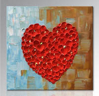 Wholesale Red Heart Canvas Wall Art - unframed Hand Painted Red Heart Oil Painting on Canvas Abstract Wall Art Home Decoration for Living Room Bedroom Dining Room
