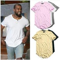 camisetas de hip hop urbano al por mayor-Dobladillo curvado camiseta de Hip Hop Urban Kpop camiseta extendida Plain Longline Mens Tee Shirts Ropa masculina
