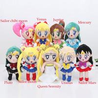Wholesale Pluto Moon - 9Styles Sailor Moon Plush Toys Dolls 20-22cm Queen Serenity Chinbi Venus Jupiter Mercury Uranus Pluto Mars Stuffed Toys for Kids Gift