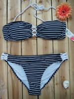 bikini grande damas al por mayor-Gran tamaño para mujer Rayas vendaje Bandeau dama bikini Vendaje traje de baño biquini triángulo retro Trajes de baño biquini maillot de bain